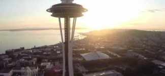Space Needle Aerial Drone Footage In Seattle