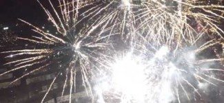Fireworks with drone Sylvester New Year 2015