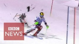 Drone narrowly misses skier Marcel Hirscher during slalom race