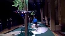 Intel Realsense drone technology follows mountain biker through trees