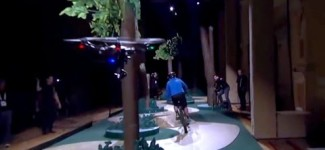 Intel Realsense drone technology follows mountain biker through trees
