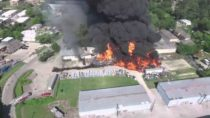 Drone Captures Aerial View of Huge Fire at Houston Warehouse